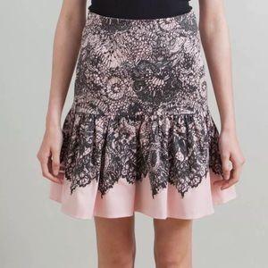 PRADA Lace Print Cotton Skirt in Pink